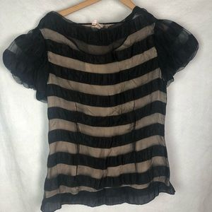 Anthropologie Tracy Reese Black Sheer Shirt Blouse